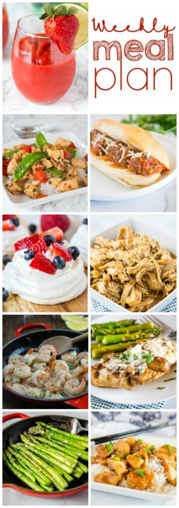 Weekly Meal Plan Week 257- Make the week easy with this delicious meal plan. 6 dinner recipes, 1 side dish, 1 dessert, and 1 fun cocktail make for a tasty week!