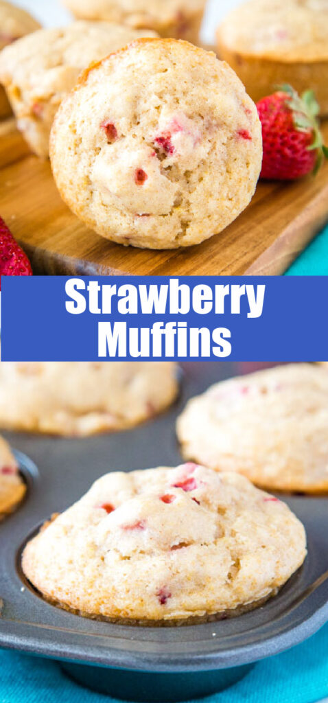 strawberry muffins close up