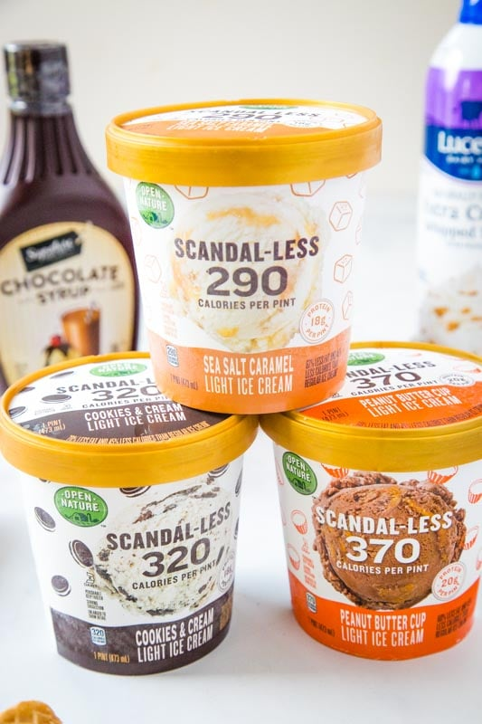 3 pints of scandal-less ice cream stacked on top of each other