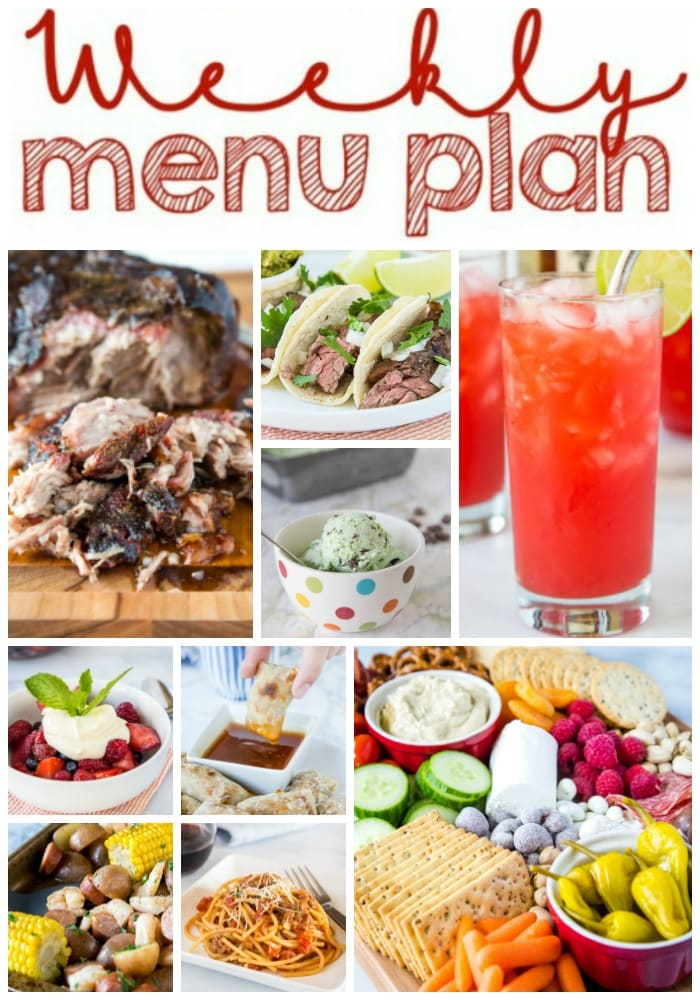 Weekly Meal Plan Week 263- Make the week easy with this delicious meal plan. 6 dinner recipes, 1 side dish, 1 dessert, and 1 fun cocktail make for a tasty week!