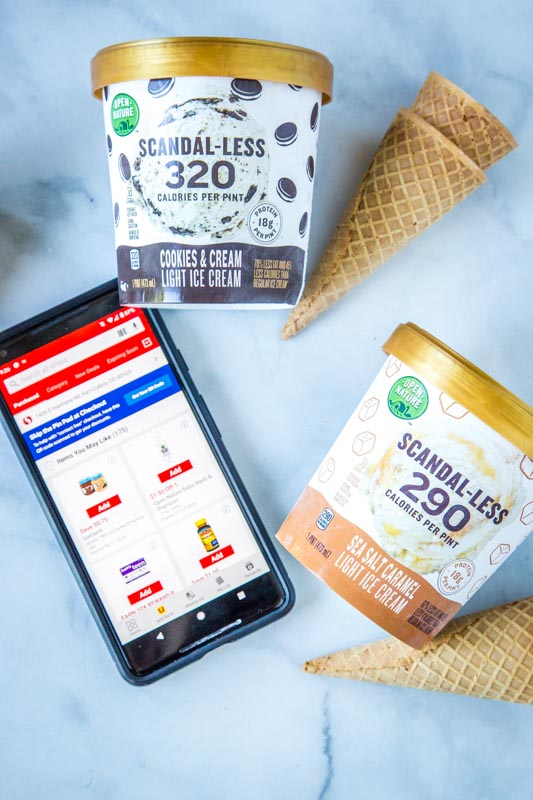 ice cream containers with safeway app displayed on phone
