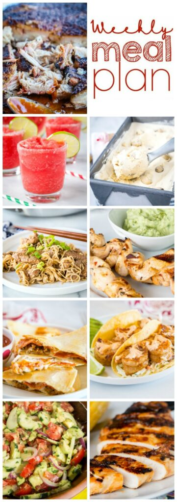 Weekly Meal Plan Week 266 - Make the week easy with this delicious meal plan. 6 dinner recipes, 1 side dish, 1 dessert, and 1 fun cocktail make for a tasty week!