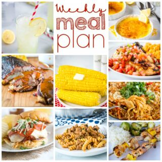 Weekly Meal Plan Week 268 - Make the week easy with this delicious meal plan. 6 dinner recipes, 1 side dish, 1 dessert, and 1 fun cocktail make for a tasty week!