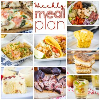 Weekly Meal Plan Week 270 - Make the week easy with this delicious meal plan. 6 dinner recipes, 1 side dish, 1 dessert, and 1 fun cocktail make for a tasty week!