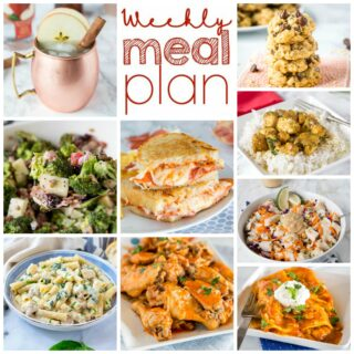 Weekly Meal Plan Week 271 - Make the week easy with this delicious meal plan. 6 dinner recipes, 1 side dish, 1 dessert, and 1 fun cocktail make for a tasty week!