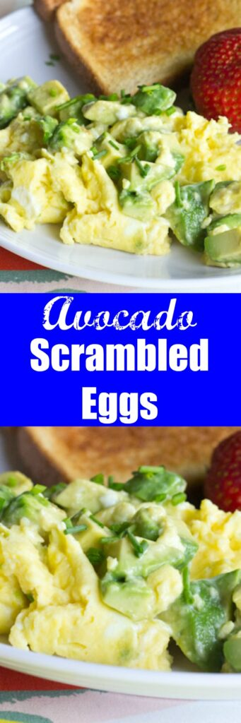Avocado Scrambled Eggs - A healthy breakfast to start your day off right. Buttery avocado mixed with creamy scrambled eggs makes for a great breakfast.