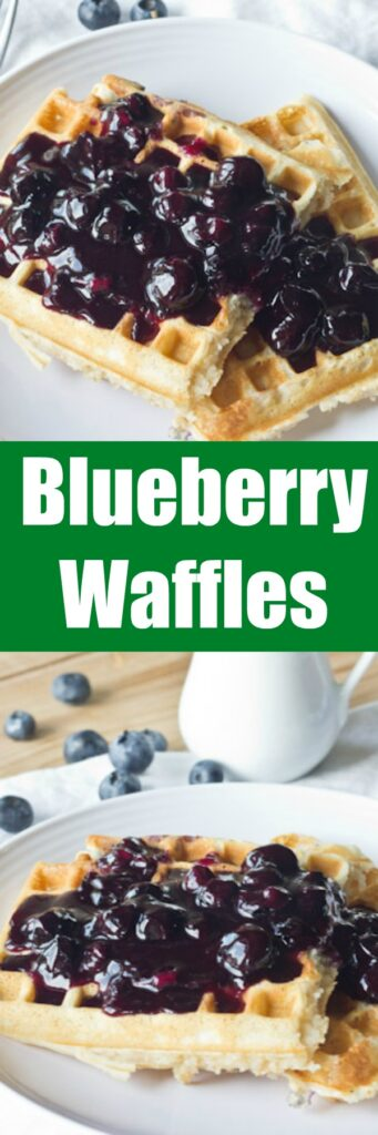 Blueberry Waffles - delicious light, fluffy golden waffles that are loaded with blueberries!  A great breakfast for the whole family. Made even better topped with a blueberry sauce!