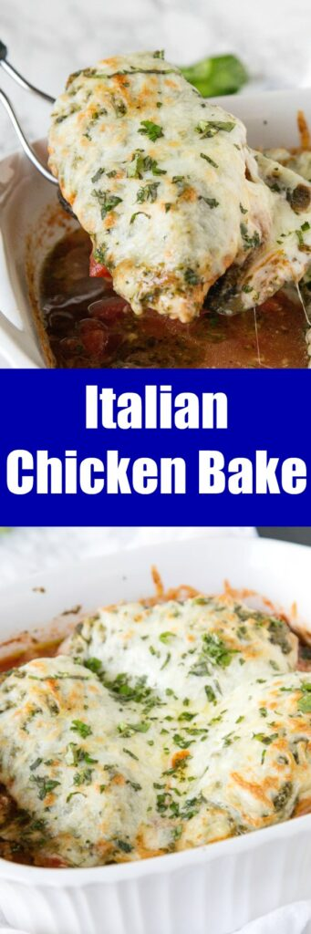 Italian Chicken Bake - just 5 simple ingredients for a delicious, cheesy, and perfect baked pesto chicken dinner for any night of the week.