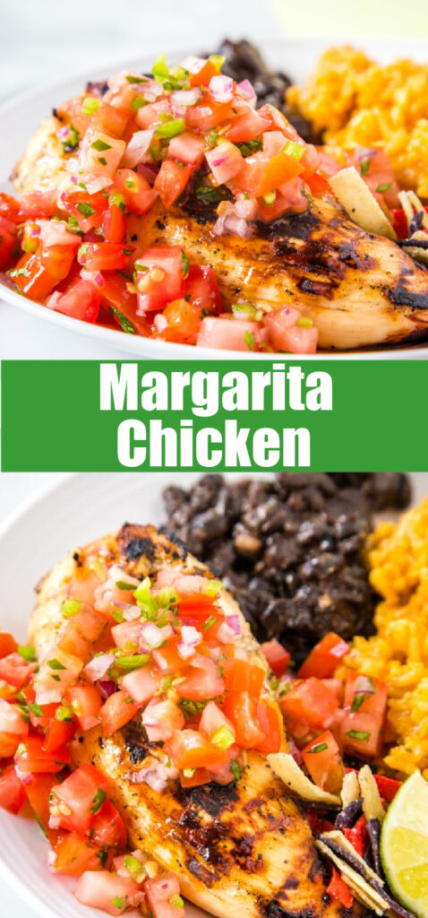 margarita grilled chicken topped with tomatoes on plate