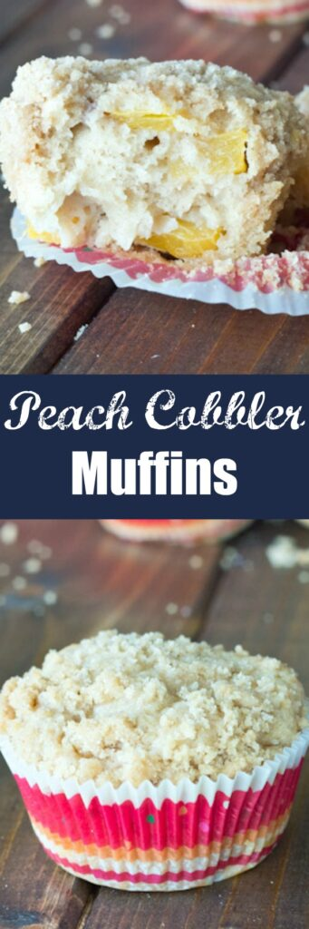 Peach Cobbler Muffins - One of your favorite peach desserts made into a soft and tender muffin. A delicious crumb topping makes this one heck of a breakfast.