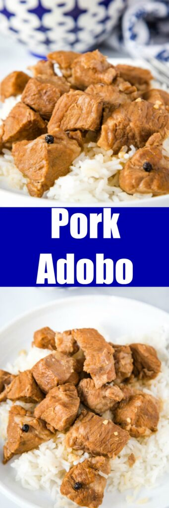 Pork Adobo -  This Filipino Pork Adobo is made with pieces of pork that are cooked in soy sauce, vinegar, and garlic. The sauce is rich and tasty and perfect served over rice!