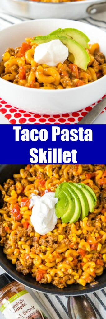 Taco Pasta Skillet - All the flavors of taco night in a one pan meal, ready in 20 minutes! Homemade version of those boxed mix meals, with just a few staple ingredients.