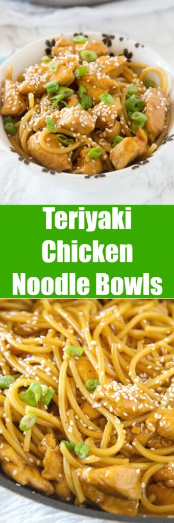 close up chicken teriyaki noodles in a bowl