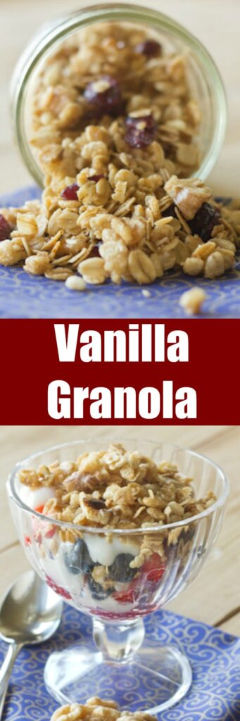 Vanilla Granola - Sweet and crunchy almond vanilla granola that is so much better than anything from the store!