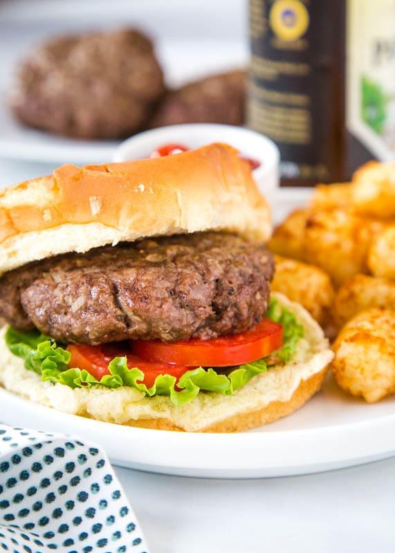 air fried hamburger on bun