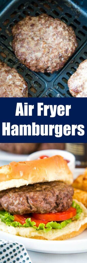 air fryer hamburgers close up