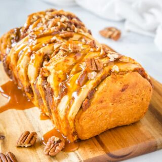 close up of pumpkin pull apart bread