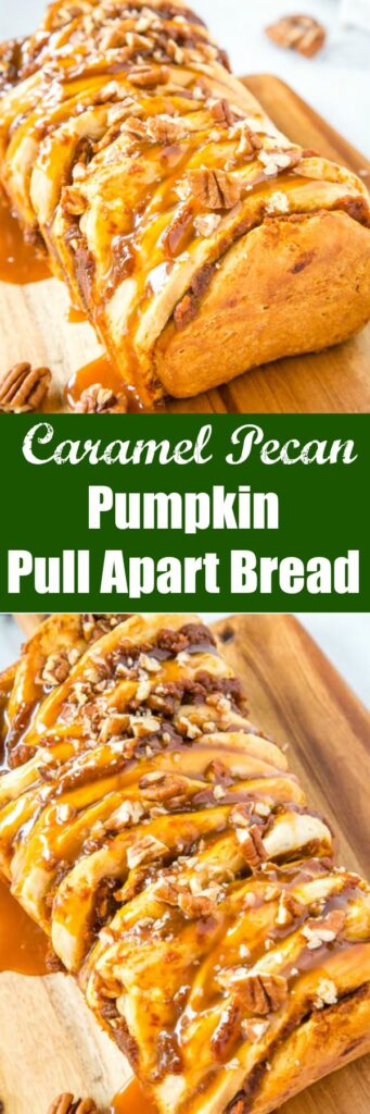 collage of pumpkin pull apart bread