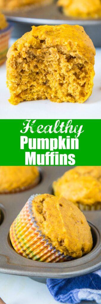close up of healthy pumpkin muffins