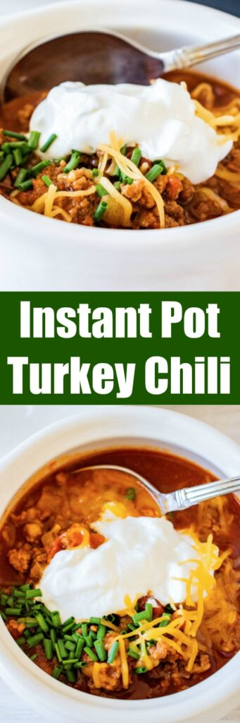 close up instant pot turkey chili in bowls