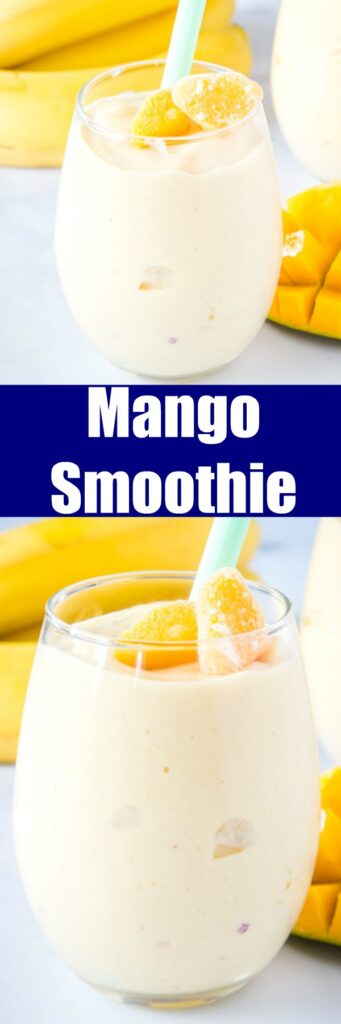 Mango Smoothie - an easy fruit smoothie with frozen mangoes, banana, yogurt and milk.  Thick, creamy, and such a refreshing way to start the day!