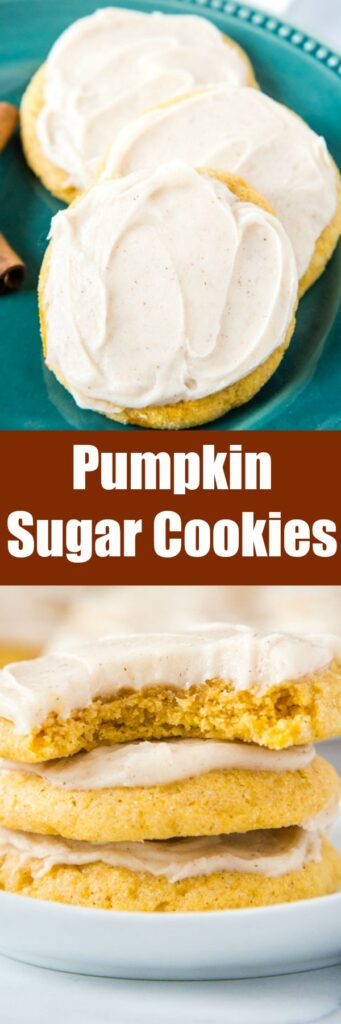 close up pumpkin cookies with cream cheese frosting