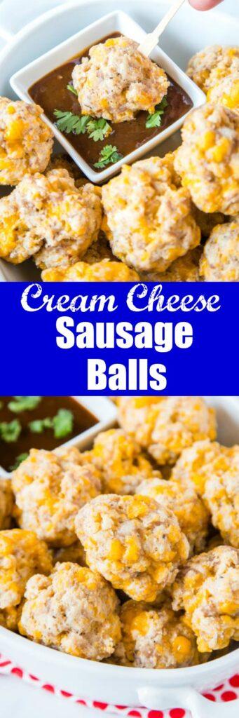 close up cream cheese sausage meatballs