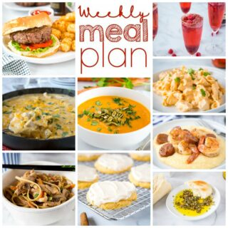 Weekly Meal Plan Week 277 – Make the week easy with this delicious meal plan. 6 dinner recipes, 1 side dish, 1 dessert, and 1 fun cocktail make for a tasty week!