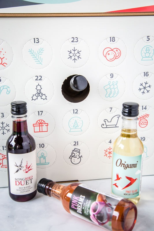 wine advent calendar with bottles of wine