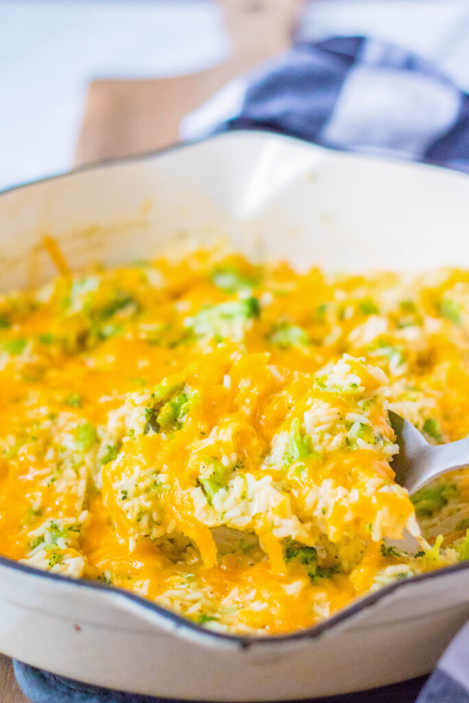 broccoli rice casserole on serving spoon