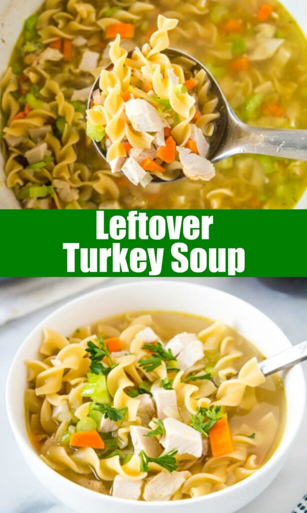 collage of turkey soup