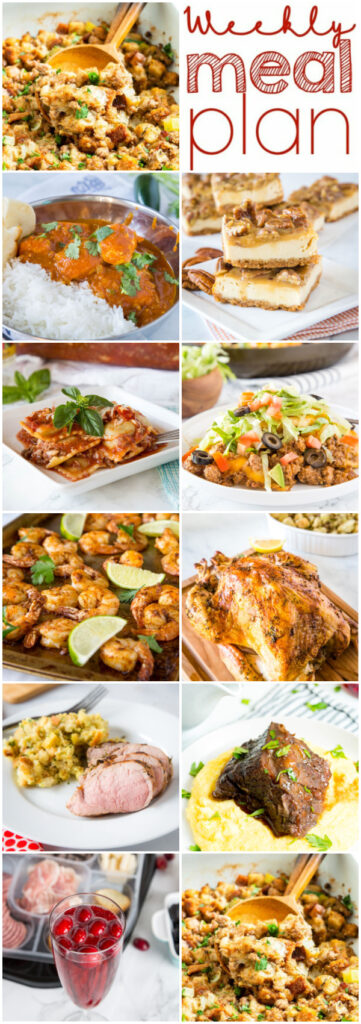 collage of dinner ideas for weekly meal plan