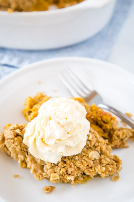 looking down on plate with pumpkin crisp