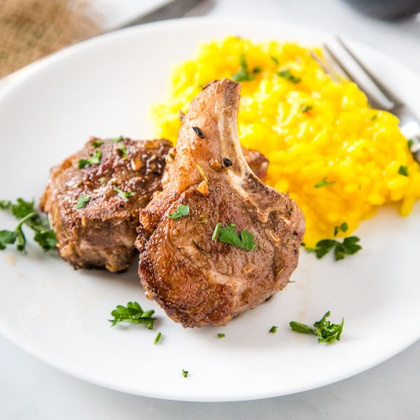 cropped pic of sous vide lamb chops on plate