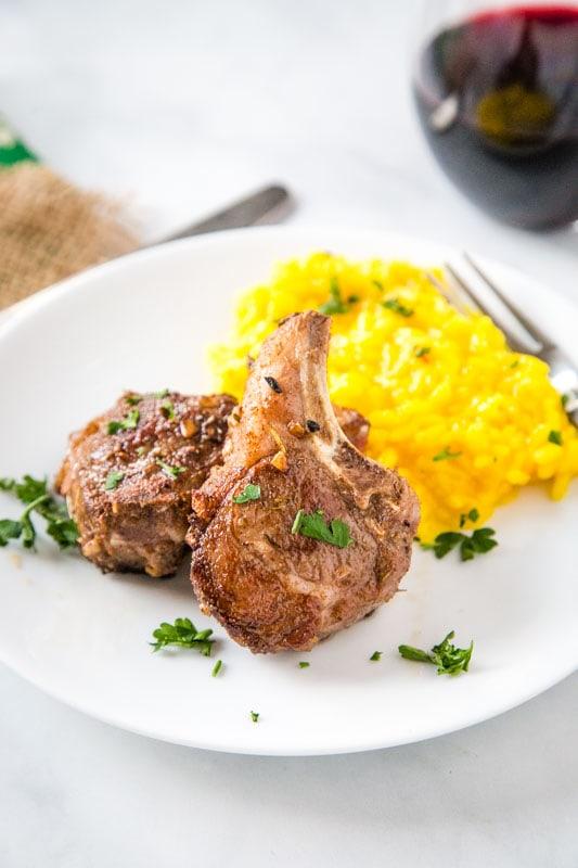 Mediterranean lamb chops on plate