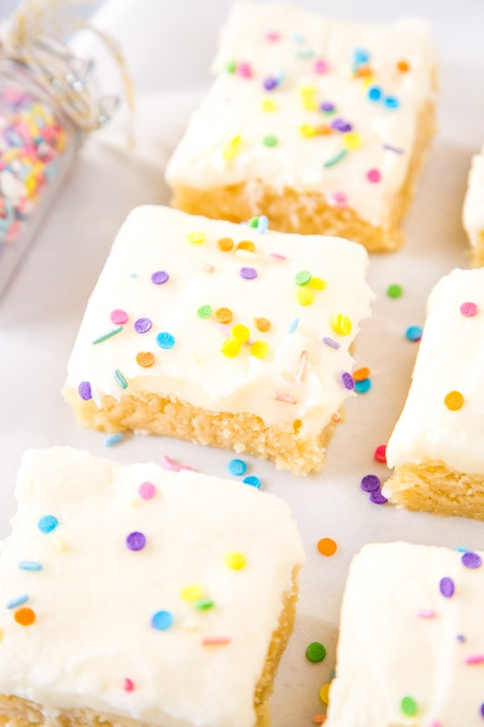 sliced sugar cookie bars on table