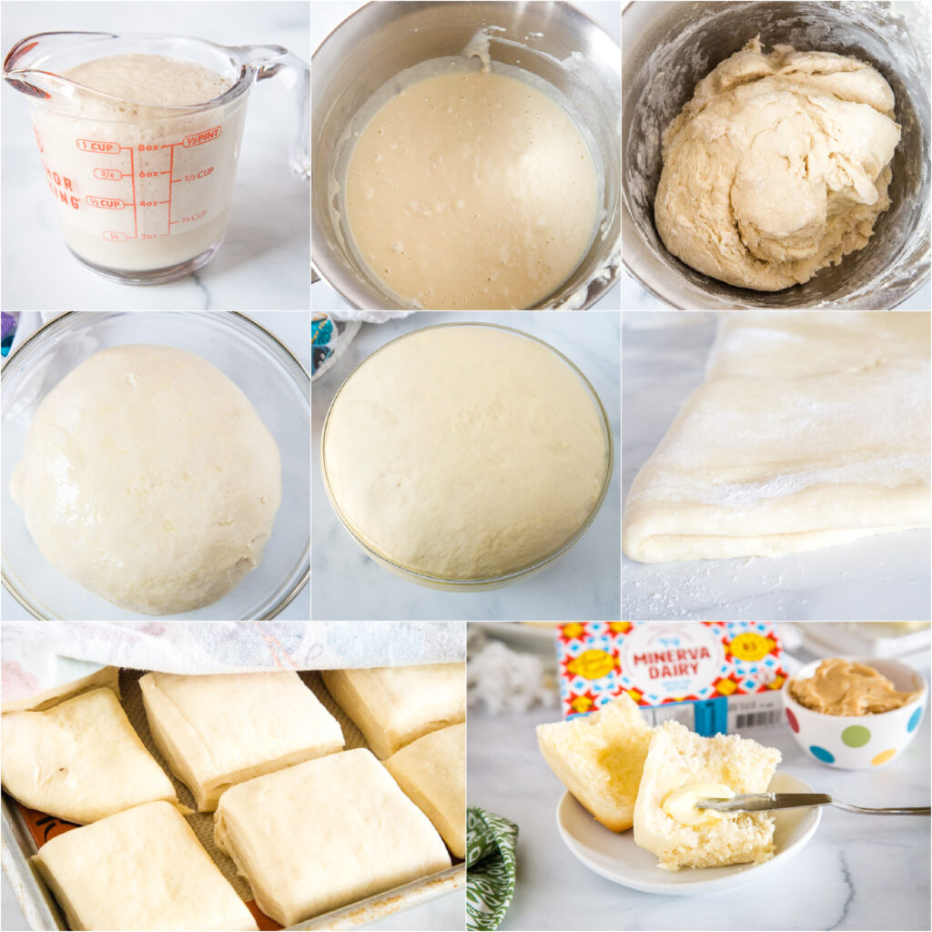 collage of step by step photos for making rolls