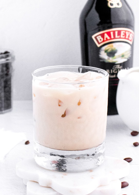 baileys white russian in a glass with ice
