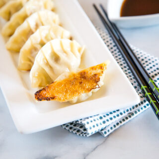 japanese pork drumplings on a plate