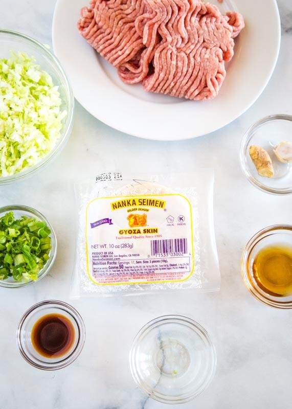 ingredients to make gyoza