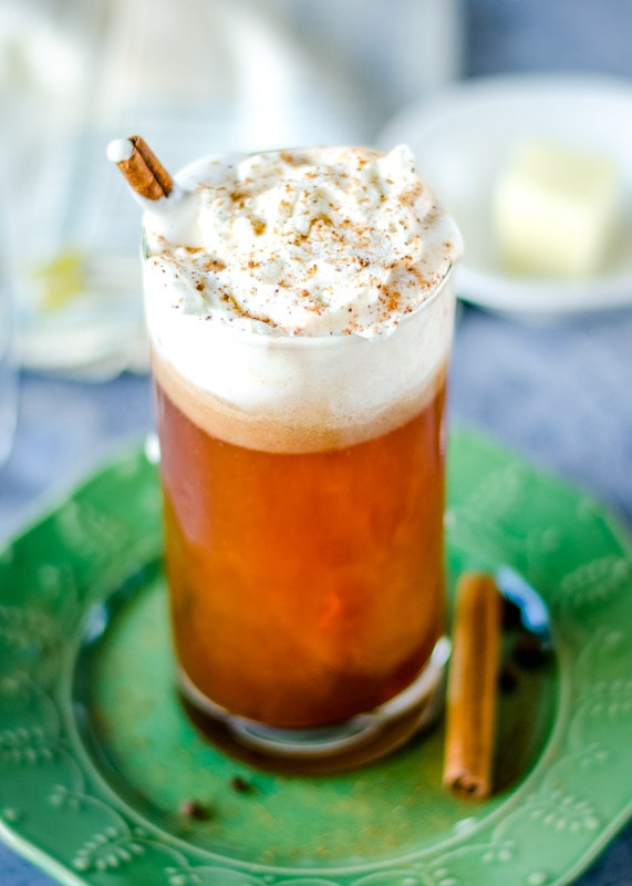 Hot buttered rum topped with whipped cream
