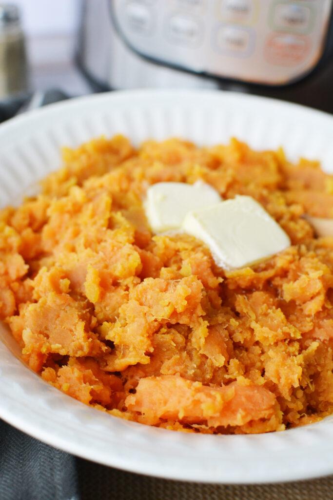 close up mashed sweet potatoes