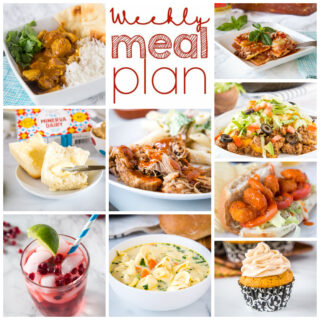 Weekly Meal Plan Week 278 – Make the week easy with this delicious meal plan. 6 dinner recipes, 1 side dish, 1 dessert, and 1 fun cocktail make for a tasty week!