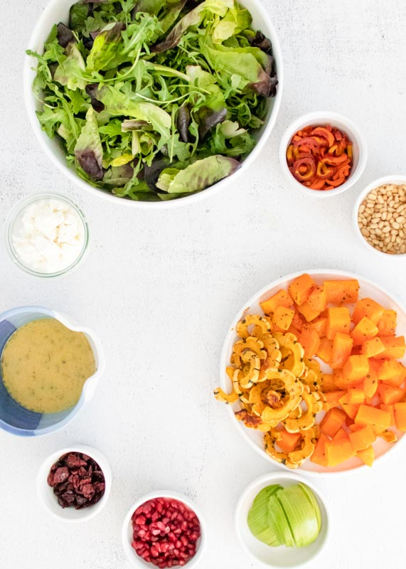 salad ingredients all lined up