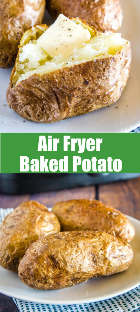 air fryer baked potato collage for pinterest