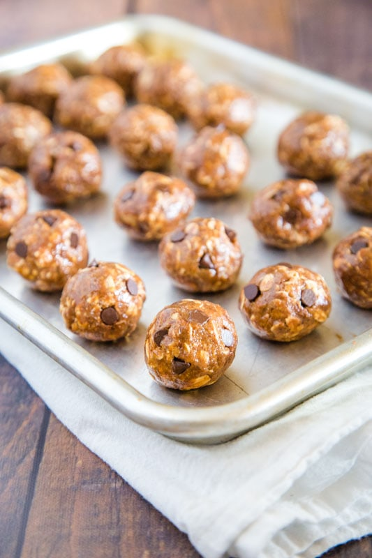 protein balls rolled on baking sheet