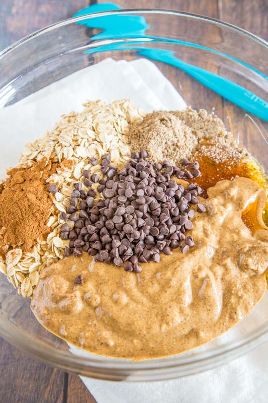 ingredients for protein balls in a bowl
