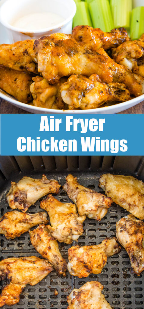 air fryer chicken wings in basket and tossed with sauce