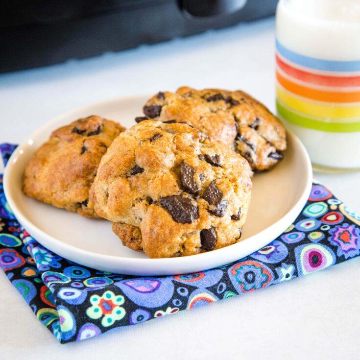 cropped in pic of air fryer cookies