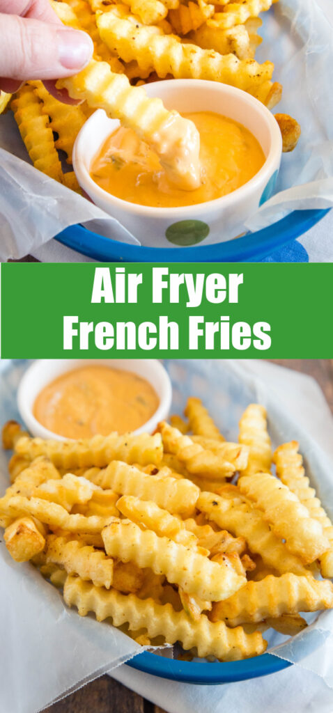 college of french fries in a basket with dipping sauce